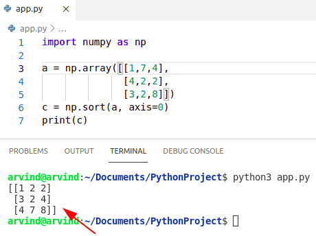Python sort numpy array by column