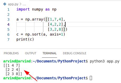 Python sort numpy array by row