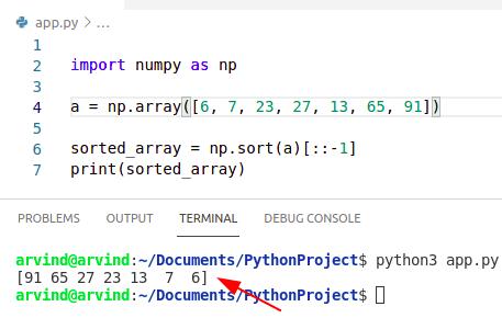 Python sort numpy array descending