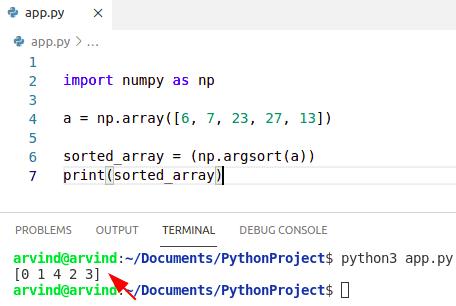 Python sort numpy array get index