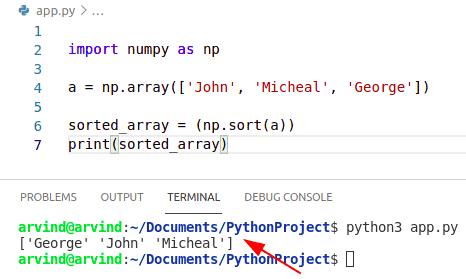 Python sort numpy array of strings