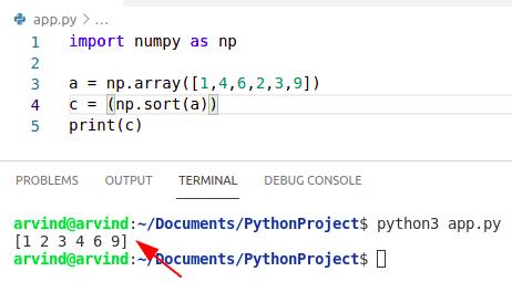 Python sort numpy array