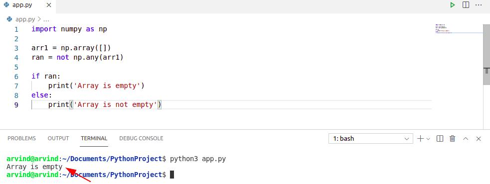 Check if numpy array is empty numpy.any
