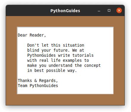 python tkinter Text box size