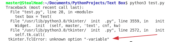 python tkinter Text box variable