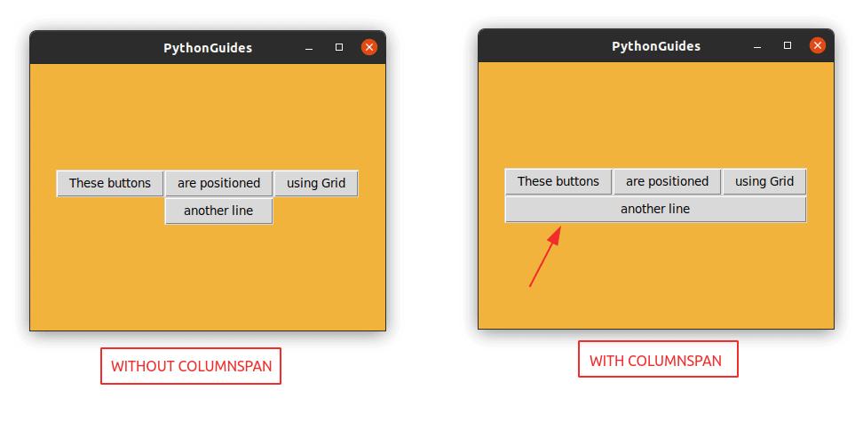 Python Tkinter Grid Columnspan