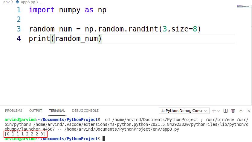 Python NumPy random number in range