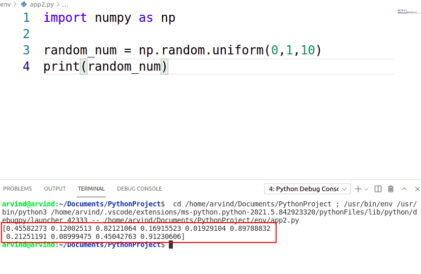 Python NumPy random uniform