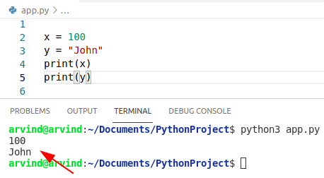 Create a variable in python