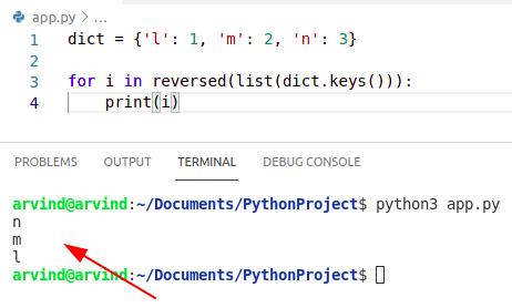 Python dictionary sort reverse