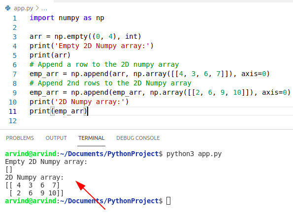 Python Create an Empty Numpy array and append rows