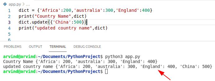 Python Dictionary update