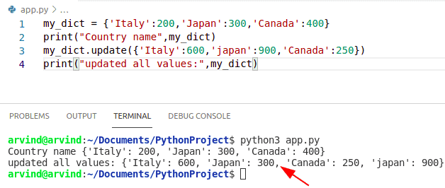 Python Dictionary update all values