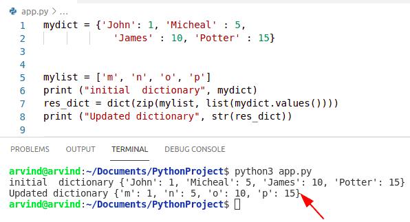 Python Dictionary update key zip method