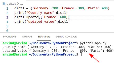 Python Dictionary update value