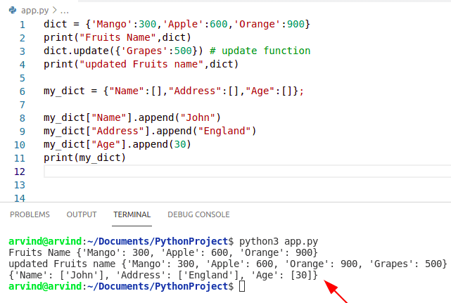 Python Dictionary update vs append
