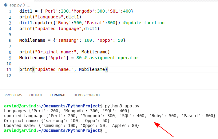 Python Dictionary update vs assignment