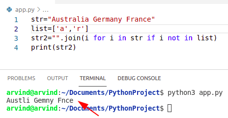 Python remove character from a string using join