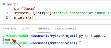 Python remove character from string using slicing method