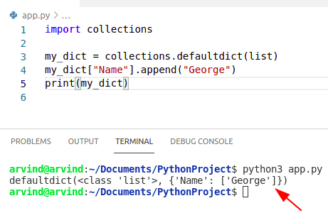 Python append dictionary values to list collections method