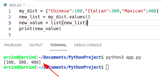 Python convert dicitionary values to list by values method