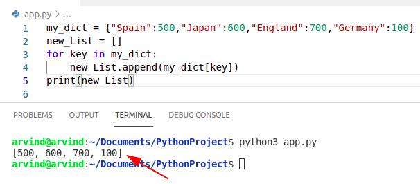 Python convert dictionary values to list