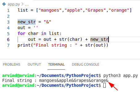 Python create string from list with separator by loop method