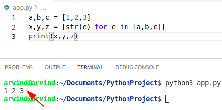 Python create variabe for each item in list