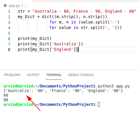 Python creates a string from dictionary generator method