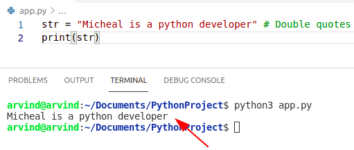 Python creates a string from double quotes