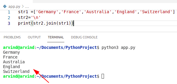 Python creates a string of n character join method