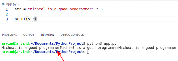 Python creates a string of same character
