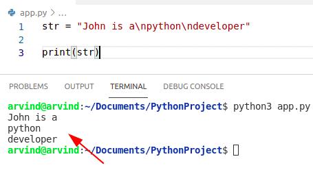Python creates a string with newline