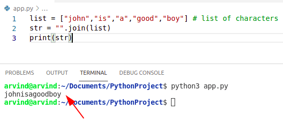 Python creates string from list of characters