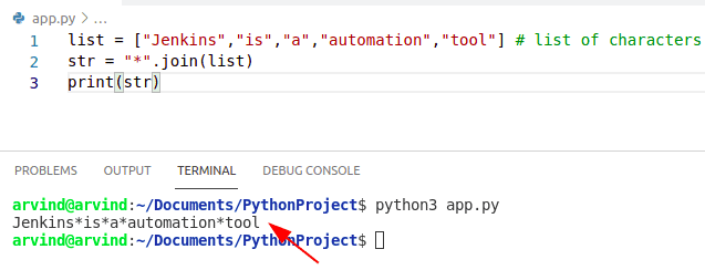 Python creates string from list with seperator