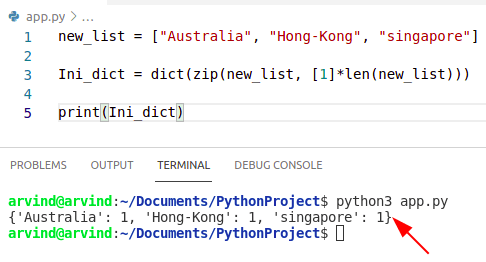Python dictionary Initialize a dictionary by dict and zip method