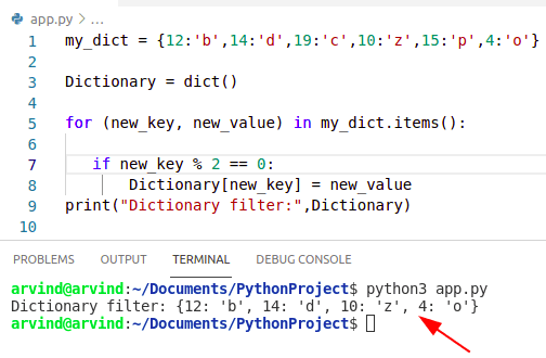 Python dictionary filter items function