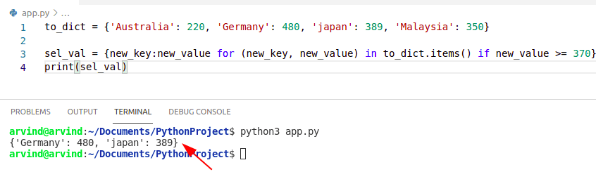 Python dictionary filter key based on value by dict