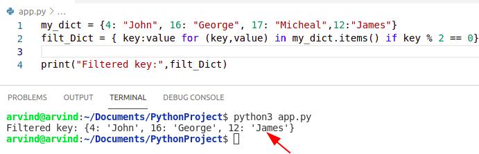 Python dictionary filter keys comprehension method