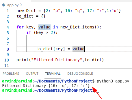 Python dictionary filter keys