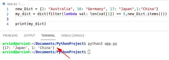Python dictionary filter lambda