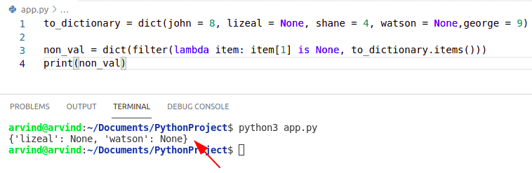 Python dictionary filter none values by filter method