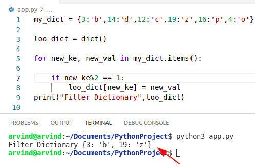 Python dictionary filter using simple loop