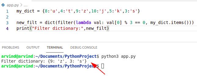 Python dictionary filter