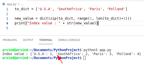 Python dictionary get index from value