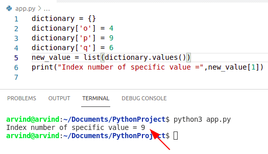 Python dictionary index number