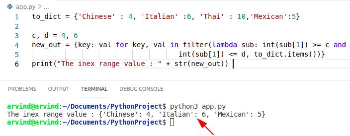 Python dictionary index range by lambda function