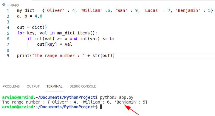 Python dictionary index range