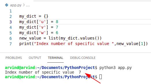 Python dictionary index value method