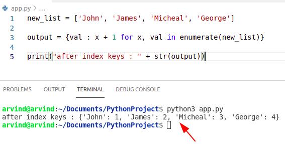 Python dictionary index value